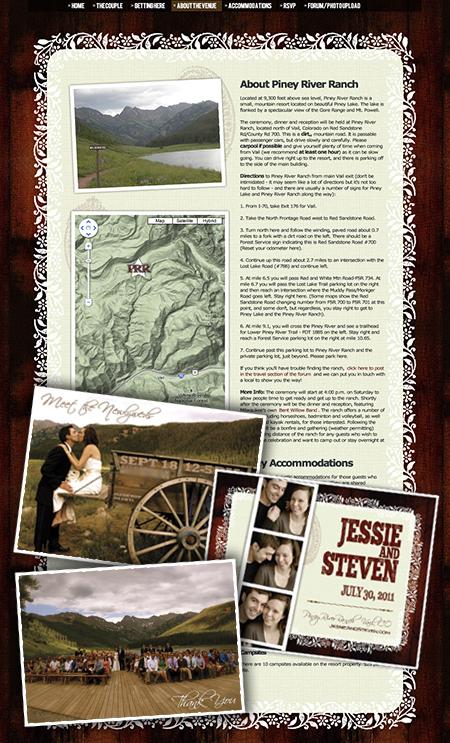 Wedding website, Vail, CO